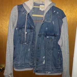American Eagle Ripped Jean Jacket with Hoodie